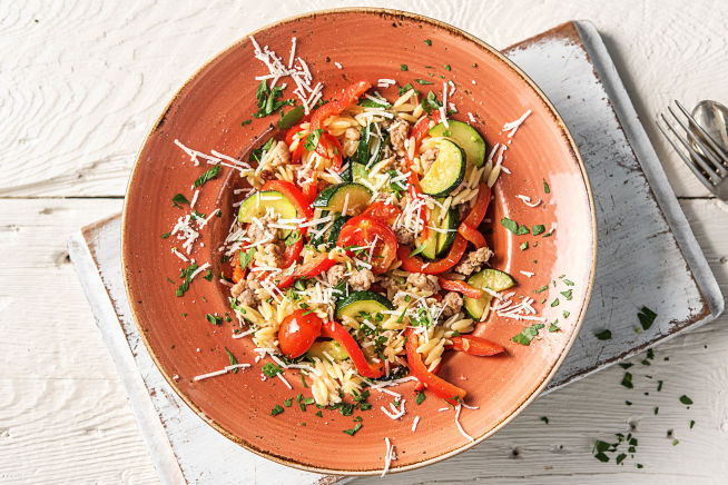 Veggie-Loaded Orzo and Sausage