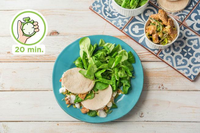 Snelle recepten - Pitabroodjes met kalkoenshoarma