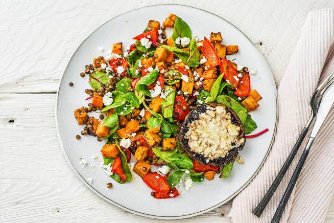 Vegetarische recepten - Gevulde portobello met feta en salade