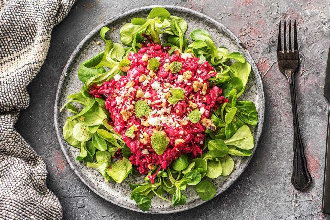 Vegetarische recepten - Bietenrisotto met feta en munt
