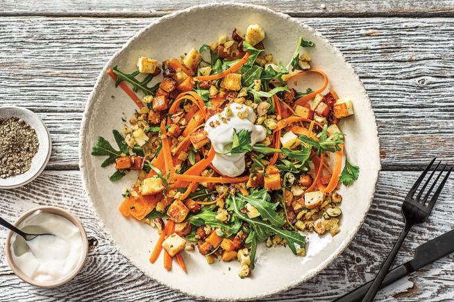 Quick Meals - Warm Sweet Potato, Basil Haloumi & Rocket Salad