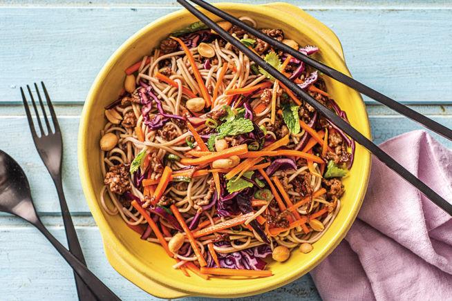 Quick Meals - Asian Minced Beef & Crunchy Veg Soba Noodle Bowl