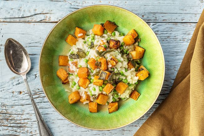 Vegetarian Recipes - Butternut Squash and Pea Risotto