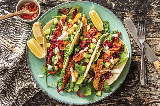 Vegetarian Recipes - Speedy Grilled Garlic & Oregano Haloumi Tacos