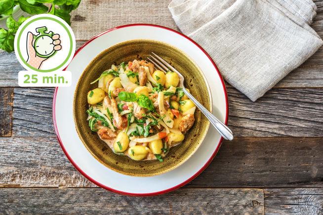 Snelle recepten - Gnocchi met kip in romige saus