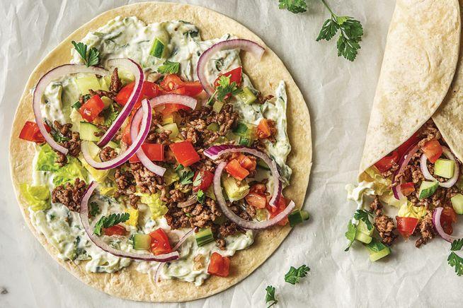 Speedy Greek Style Beef Wraps