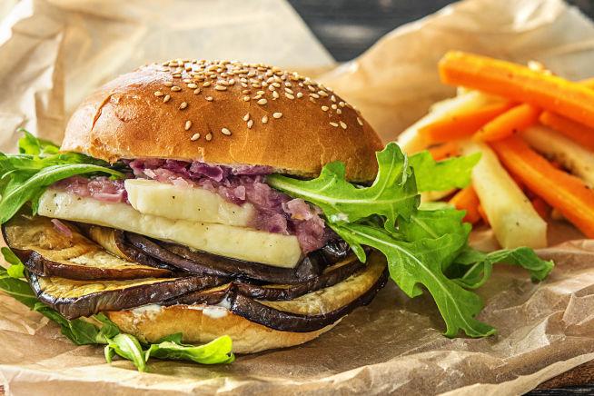 Thermomix Rezepte - Halloumi-Auberginen-Burger