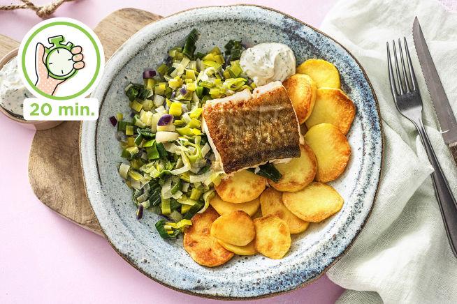 Snelle recepten - Heekfilet met aardappelschijfjes en prei