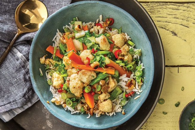 Vegetarian Recipes - Korean-Style Cauliflower & Sesame-Veggie Rice Bowl
