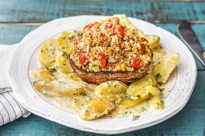 Schnelle Gerichte - Mit Hirtenkäse gefüllte Portobello-Pilze,
