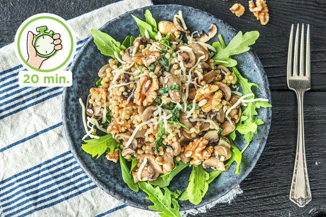 Snelle recepten - Parelcouscous met champignons en gruyère