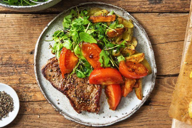 Gesunde Gerichte - Rindersteak mit geschmorten Tomaten,