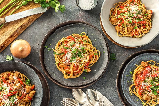 Family Friendly - Tuscan Sausage and Pepper Spaghetti