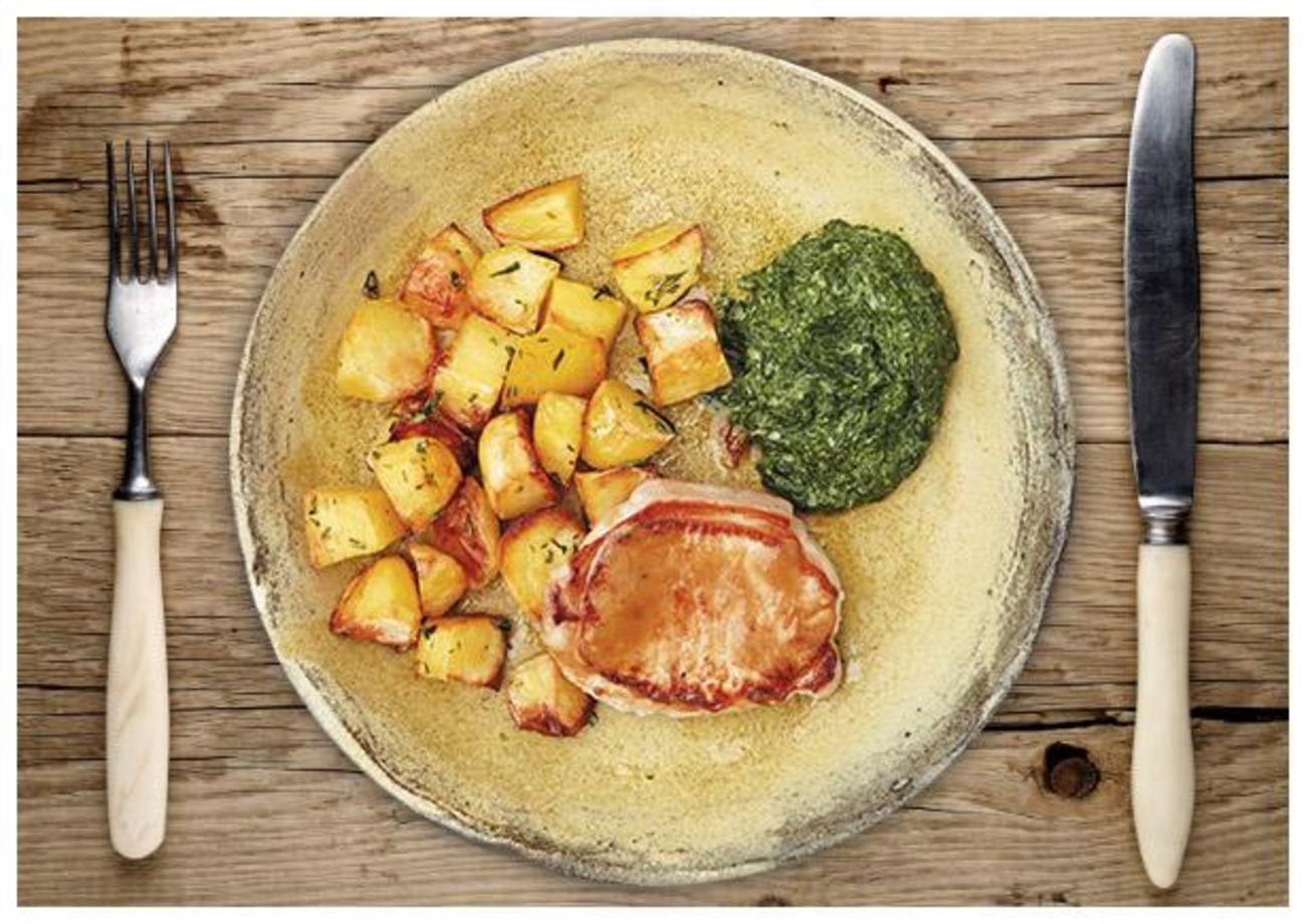 Delikate Schweinelachssteaks an krossen Rosmarin-Kartoffeln