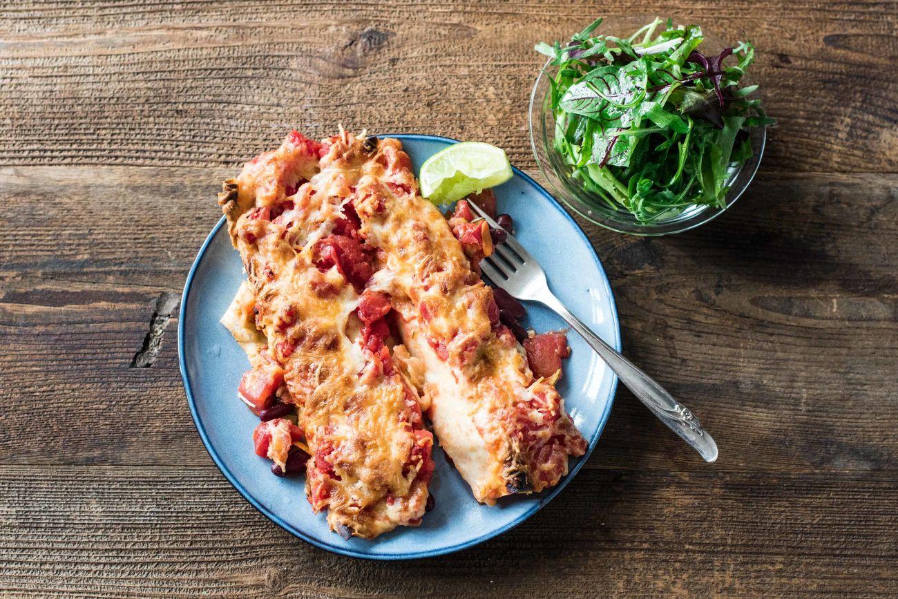 Veggie Cheesy Bean Enchiladas