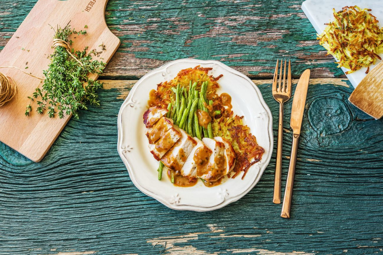 Mustard Pork Chops and Potato Rosti