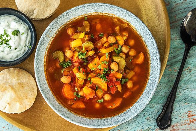 Caloriearme recepten - Marokkaanse tomatensoep met kikkererwten