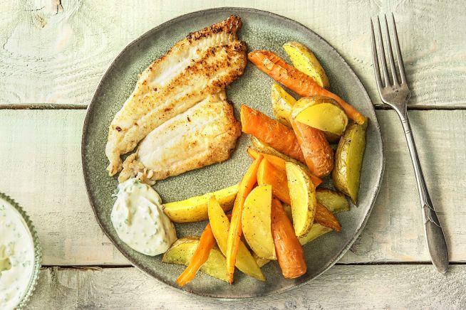 Caloriearme recepten - Gebakken scholfilet met bieslooksaus