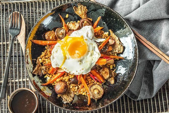 Vegetarische recepten - Parelgerst met paddenstoelen en ei
