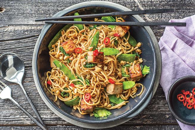 Vegetarian Recipes - Japanese Style Yakiudon Tofu Noodle Stir-fry
