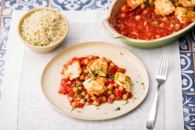 Greek Chickpea & Haloumi Saganaki