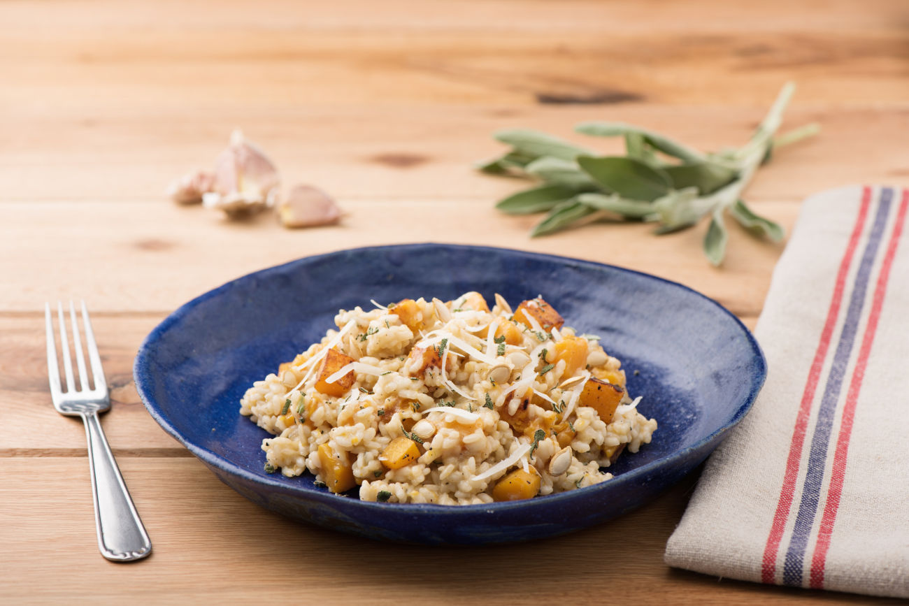 Autumn Risotto with Butternut Squash, Sage, and Pepitas