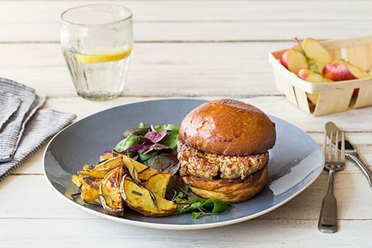 Pork and Apple Burger with Rosemary Potatoes and Mixed Green Salad