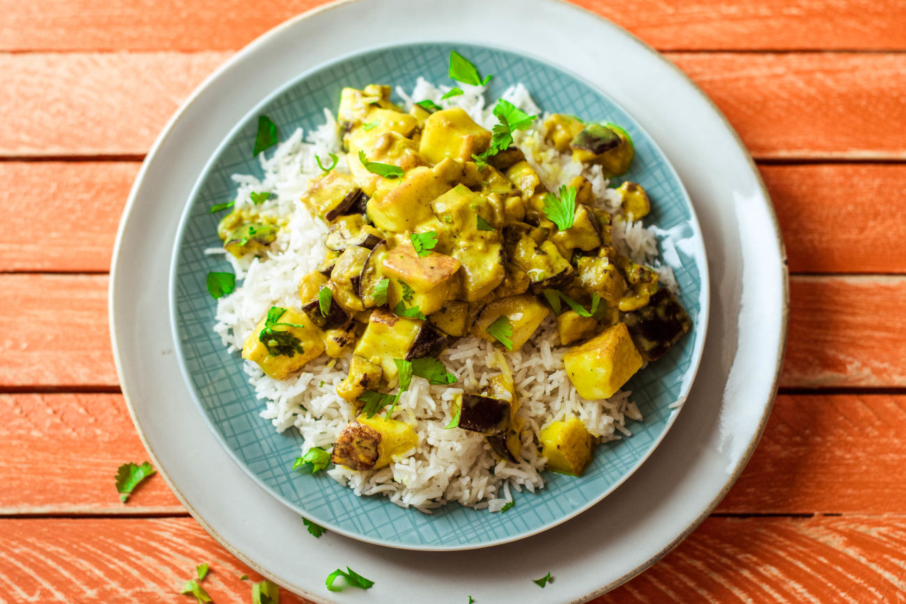 Aubergine and Paneer Curry