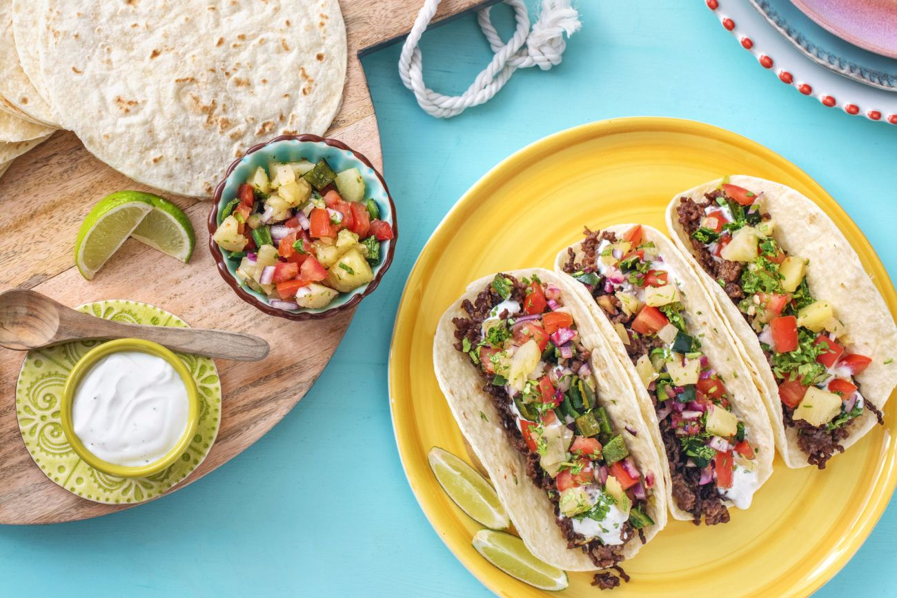 easy Mexican recipes-Pineapple-Poblano-Beef-Tacos-HelloFresh