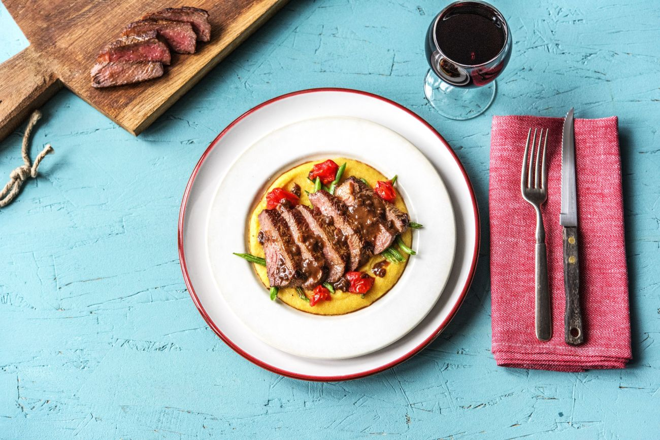 NY Strip Steak with Balsamic Reduction