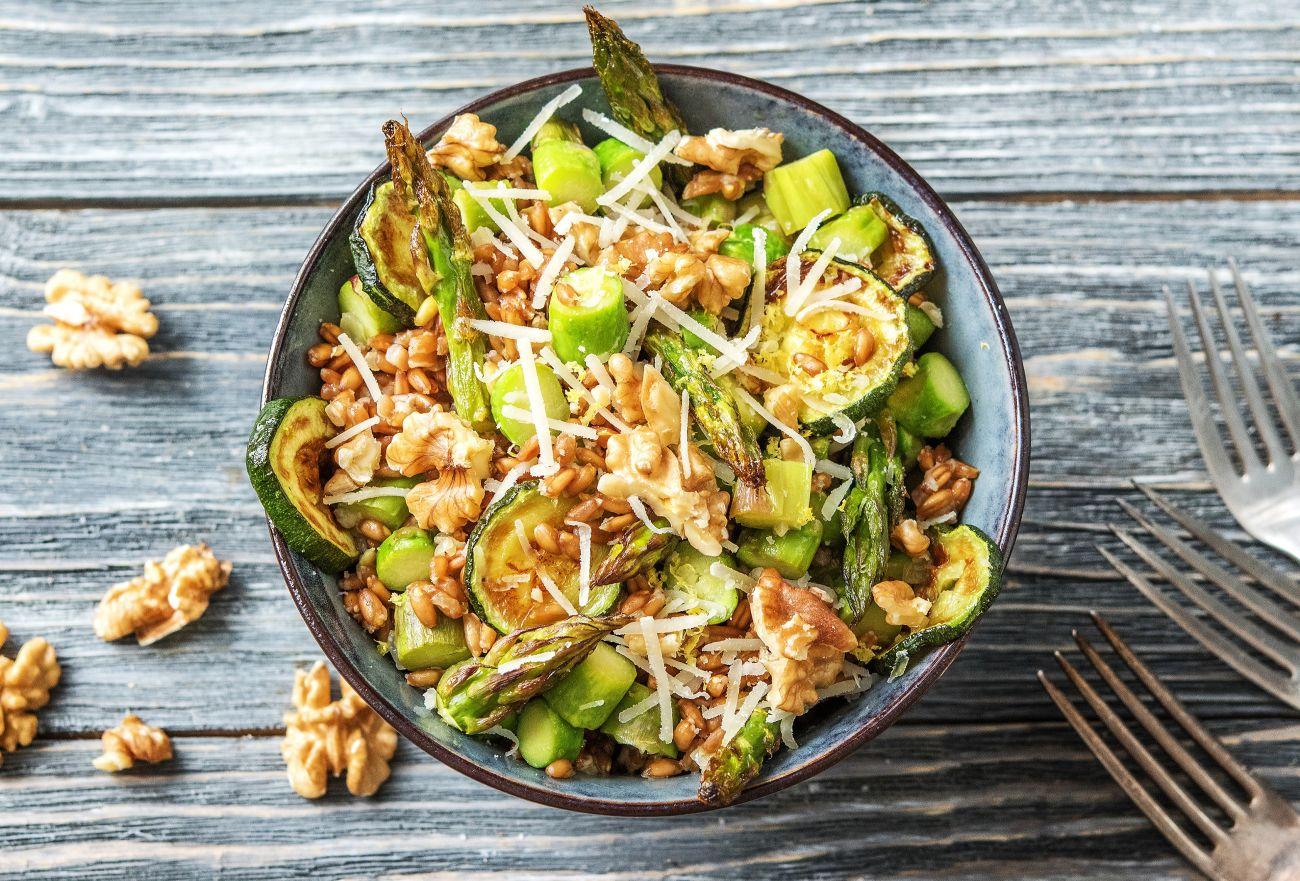 Zucchini and Asparagus Farro Bowl