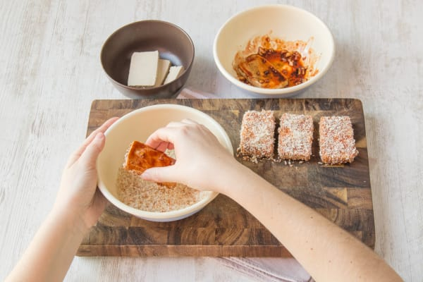 Dip the tofu into mixtures