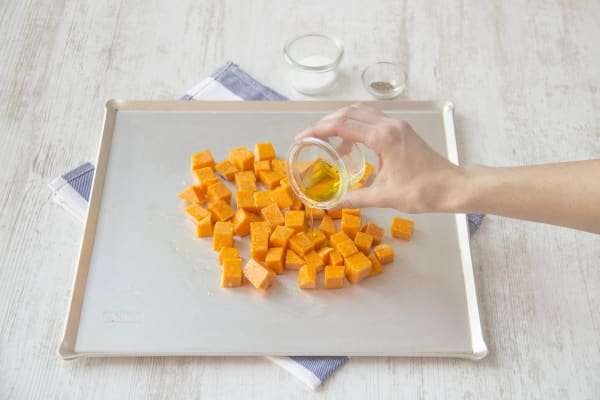Toss on baking sheet whit 1 tablespoon olive oil