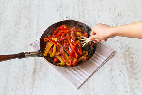 Fry off the peppers