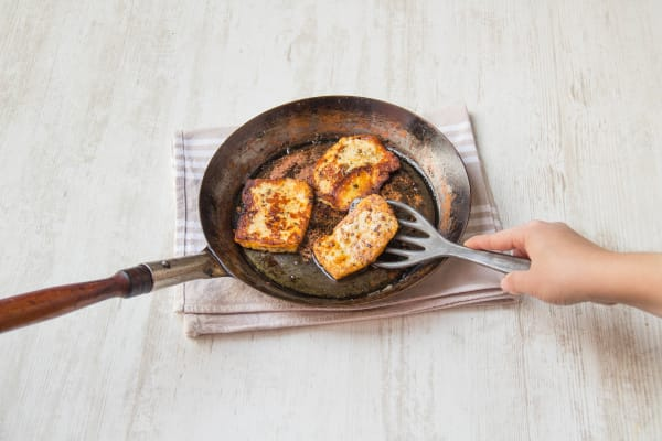 Cook the halloumi on each side until just golden
