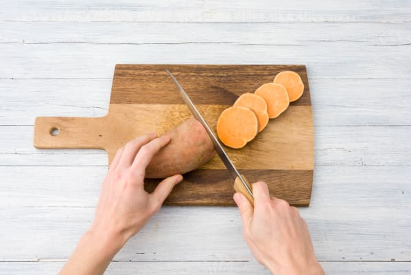 Cut your sweet potatoes into discs
