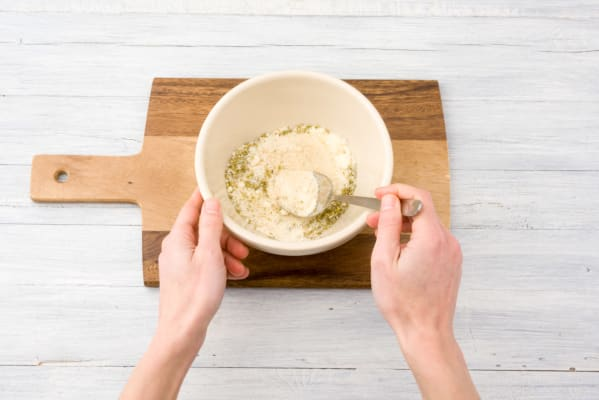 Mix your breadcrumbs, cheese and dried herbs