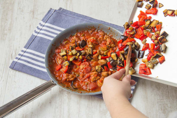 Add the roasted veg to your pan