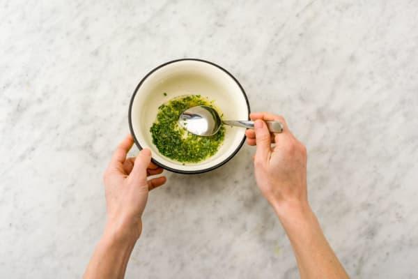 Make the tarragon-chive herb sauce