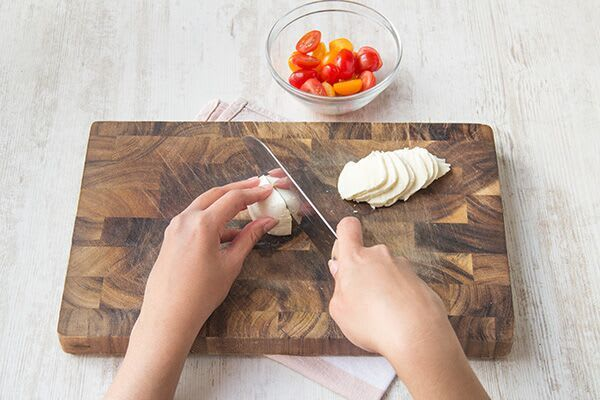 Slice the mozzarella