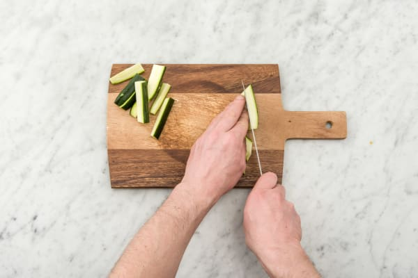 Cut the zucchini into batons