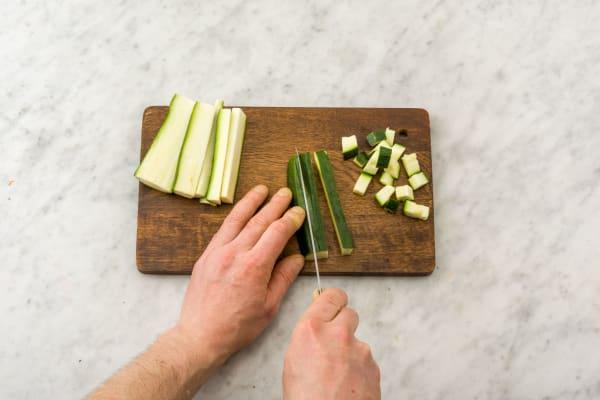 Slice the courgette