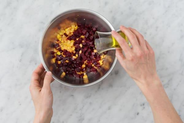 Make the bruschetta toppings