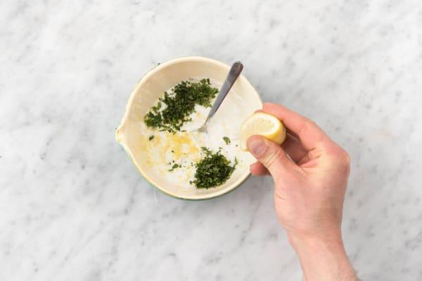 Make the lemon-mint yogurt sauce