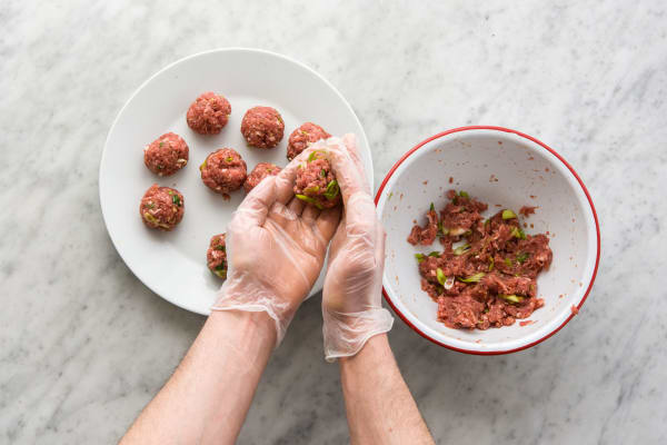 Shape into tablespoon sized meatballs