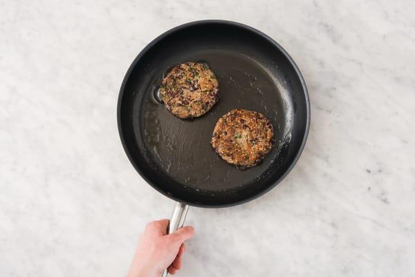 Cook the veggie patties