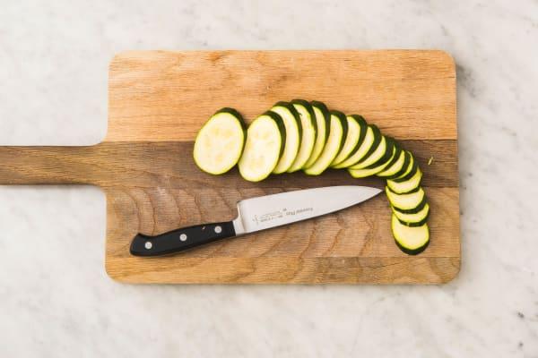 Preheat and Prep Zucchini