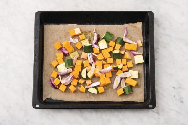 Bake the veggies