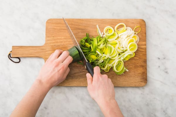 Prei en ui snijden