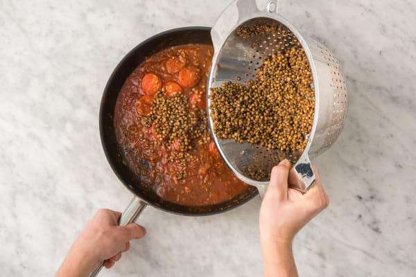 Penne en linzen koken